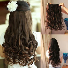 "Women Ladies 19"" Long Curly Wavy 5 Clips In On Hair Extensions Full Head Top New"