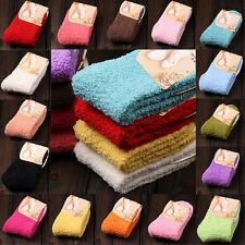 Casual Fuzzy Thick Warm Womens Candy Colors Slipper Socks Ladies Girls Hosiery