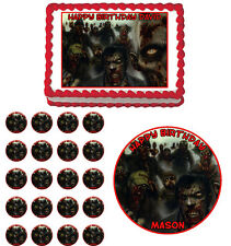 Zombies Horror Scary Edible Birthday Cake Cupcake Toppers Party Decorations