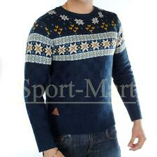 Mens Designer Nordic Aztec Knitted PU Elbow Patch Jumper Sweater Top Size