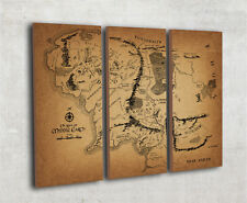 Map Of Middle Earth Lord Of The Rings triptych canvas Large - ready to hang