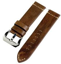 PREMIUM 2P VINTAGE BROWN LEATHER TRADITIONAL Watch Band Strap Fits PANERAI