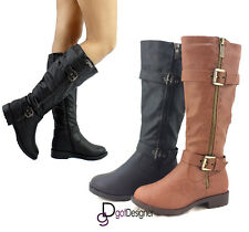 Women's Fashion Shoes Knee-High Boots Riding Cowboy Slouchy Military Round Toe