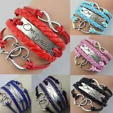 New Infinity Love Heart one direction Friendship Silver Leather Charm Bracelet