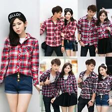 Korean Women Men T-Shirt Plaid Check Turn-down Collar Lovers Couples Blouse Tops