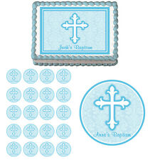 Blue Faith Cross Baptism First Communion Edible Cake Cupcake Toppers Party