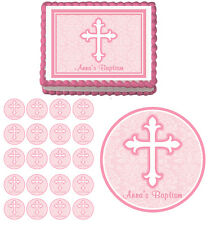 Pink Faith Cross Baptism First Communion Edible Cake Cupcake Toppers Party