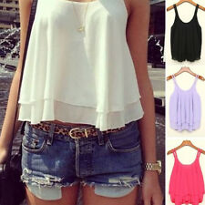 S-4XL Sexy Women Summer Casual Shirt Chiffon Loose Vest Tank Top Blouse Cami NEW