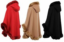 Ladies Womens New Celebrity Faux Fur Hooded Cape Poncho Coat Size 8 10 12 14 16