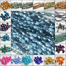 Wholesale 20pcs Faceted Crystal Teardrop Charm Loose Spacer Beads 8x12mm U Pick