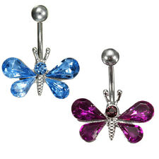 Crystal Butterfly Dangle Ball Barbell Bar Belly Button Navel Body Piercing Ring