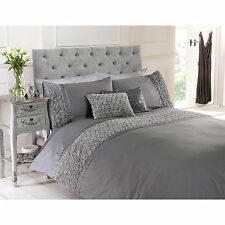 Girls Vintage Chic Rose Ruffle Duvet Cover – Grey Bedding Bed Set – All Sizes