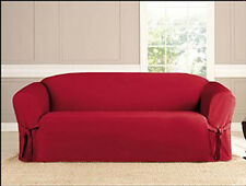 KASHI MICRO SUEDE SLIPCOVER SOFA LOVESEAT CHAIR FURNITURE COUCH COVER RUBY