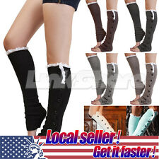 Women Knee High Knit Flat Button Down Crochet Lace Trim Leg Warmers Boot Socks