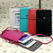 PU Leather Phone Case Pouch Shoulder Wallet Bag Neck Strap For iPhone 6Plus Note