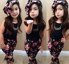 3PCS Baby Girls Floral Print T-shirt + Pants + Hair Band Set Kids Summer Outfits
