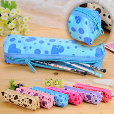 Plush Love Heart Printing Stationery Holder Pen Pencil Case Makeup Bag Cosmetic