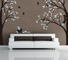 Full Corner Tree Squirrel Nursery Wall Stickers Removable Decal Kids Baby Decor