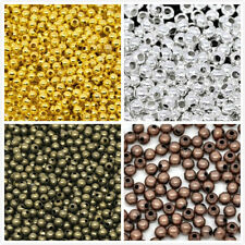 100pcs Silver/Gold Bronze Copper Plated Round Ball Spacer Beads 3-8mm Free Ship