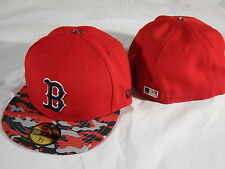 New Era MLB 5950 59FIFTY Boston Red Sox Red Camo Fitted Baseball Hat Cap