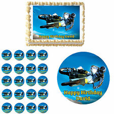 Dirt Bike Motocross Race Edible Birthday Cake Cupcake Topper Party Decorations