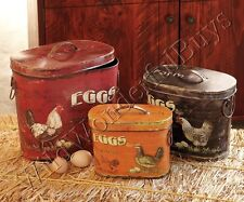 """SHABBY COTTAGE CHIC Rooster TINS WITH LIDS """"FRESH EGGS"""" Red/Black/Gold French"""