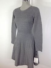 Calvin Klein NWT Tint Gray Sweater Dress Cable design Slimming Waist