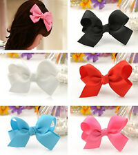 Lovely Alligator Clips Flower Baby Girl Grosgrain Ribbon Bow Hair Clip Pin