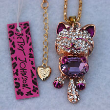 Betsey Johnson Small Cat Crystal pendant necklace Free shipping XL-205