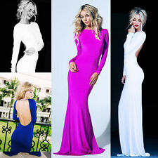 Fashion Sexy Backless Long Prom Dresses Formal Evening Party dress Ball Gown