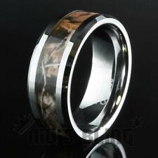 Tungsten Carbide Forest Wood Camouflage Hunting Band Ring Comfort Fit UNISEX 8MM