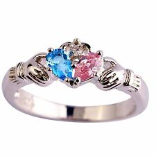 New Blue Pink Sapophire Gems Silver Jewelry Claddagh Ring Size 6 7 8 9 10 11 12