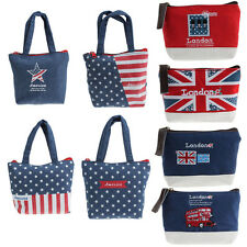 Union Jack Embroidered Admission Package Canvas Coin Purse Hand Bag Free P&P V