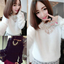 Fashion Women Vintage Long Sleeve Casual Top Lace T Shirt Blouse Sweater