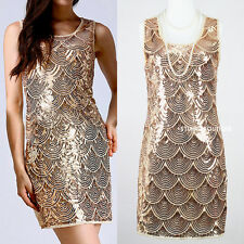 SIZE S-XL GREAT GATSBY 1920s GOLD SEQUIN DOWNTON ABBEY CHARLESTON FLAPPER DRESS