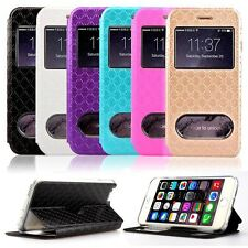 Rhombus Grid Leather View Window Case For iPhone 6 Plus 5.5inch Reliable