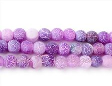 """WHOLESALE 6MM ROUND FROST CRACKED PURPLE AGATE SPACER GEMSTONE BEADS STRAND 15"""""""