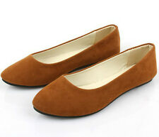 One Pair Ladies Ballerina Dolly Microsuede Pump Womens Slippers Flat Shoes