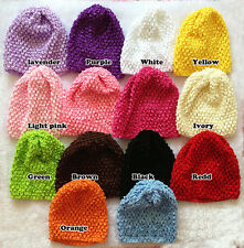 Cute Baby Infant Toddler Girl Solid Hand Crochet Beanie Hat Photography CA MO3