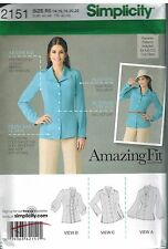 2151 UNCUT Simplicity Sewing Pattern Misses Amazing Fit Blouse Collar Variety FF