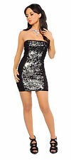Black/Silver Sequince Mini Tube Dress Roma Costume 2901 Clubwear Sexy Dress