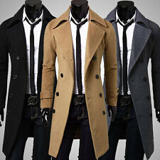 New Men's Slim Stylish Trench Coat Winter Long Jacket Double Breasted Overcoats