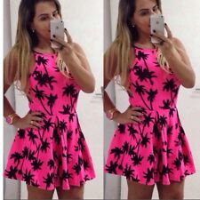 Sexy Women Summer Printing Slip Mini Dress For Evening Party Cocktail Vacation