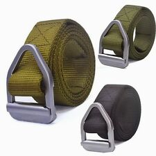 Fashion Mens Webbing Web Military Style Canvas Tan Belt Metal Buckle New 3Colors