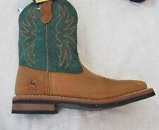 JOHN DEERE big boys distressed brown green leather western cowboy boots NEW