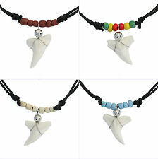 Real Shark Tooth Teeth Pendant Charm Necklace with Black Cord Boys Girls