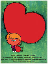 4960.Los cells infantiles.blonde boy hugging heart.POSTER.Decoration.Graphic Art
