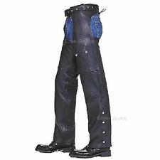 BLACK LEATHER MENS WOMENS MOTORCYCLE ZIPPERED CHAPS LEG WARMER w/ POCKET - K2L