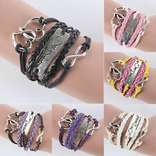 9 Colors Wholesales Infinity Love Heart one direction Leather Charm Bracelet E34