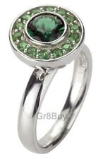 STACK RING:  925 RHODIUM STACK RING CZ ROUND EMERALD WITH EMERALD HALO